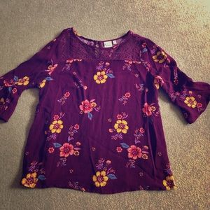 Mudd 3/4 sleeve flower shirt size 16 in girls